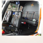 Neuerstellung Interieur Helicopter Bo105 - Rücksitzbank mit kundenindividuellen Stickarbeiten nachher