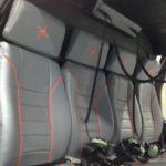 Neuerstellung Interieur Helicopter AS350 - Rücksitzbank mit kundenindividuellen Stickarbeiten nachher